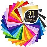 31 Láminas de vinilo, hojas de vinilo adhesivo permanente, 30 colores surtidos de vinilo + 3 colores Metálico de vinilo, para manualidades para vidrio, plástico.