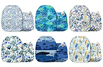 Mama Koala One Size Baby Washable Reusable Pocket Cloth Diapers 6 Pack with 6 One Size Microfiber Inserts  Ocean Wizard