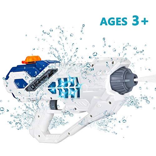MagoFeliz Elektrische Wasserpistole, 450ML Wasserpistolen Spielzeug für Kinder, Water Gun Wasser Blaster mit LED-Lichteffekt, Wasserspritzpistolen für Sommerpartys im Freien, Strand, Pool - Weiß