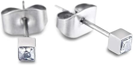 TGNEL Titanium 2mm Square Cubic Zirconia CZ Tiny Stud Earrings for Girl Women Hypoallergenic