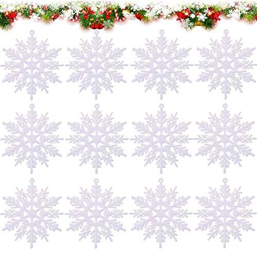 HIQE-FL Fiocchi di Neve per Natale,Fiocco di Neve da Appendere,Albero di Natale Finestra,Addobbi per Albero di Natale,Natale Decorazioni Albero