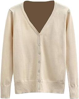 Macondoo Women Outdoor Knit Coat Sunscreen V Neck Top Cardigans Apricot M