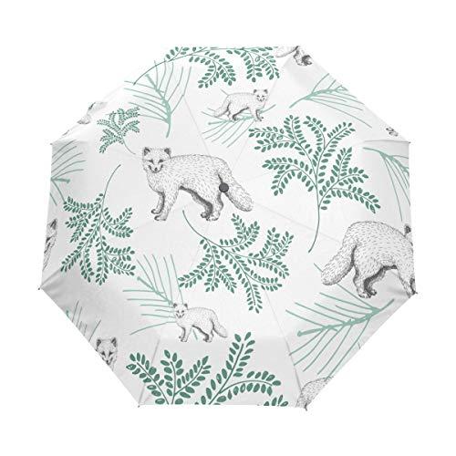 Price comparison product image Mr.Lucien Cute Fox Folding Umbrella Windproof Automatic Travel Umbrella Animal Pattern Compact Auto Open and Close Umbrella with UV Protection 2020437