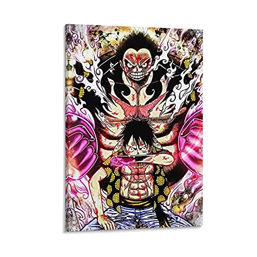 azhuang Mono D Luffy Sombrero de paja Piratas Onepieces Anime Poster Pintura decorativa Lienzo Arte de la pared Carteles Salón Pintura Dormitorio 30 × 45 cm