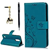 LG Aristo 2 Case, LG Aristo, LG Rebel 2, LG Risio 3Wrist Strap Flip Kickstand PU Leather Wallet Cover Embossed Floral Butterfly ID&Credit Card Holder for LG K8 2017 & 2018, Blue