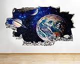 Planeta Tierra Espacio Luna Vinil Etiqueta de Pared...