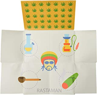 Folding Rolling Tray Stash Wallet Pouch Smell Proof Easily Concealed (Rasta)