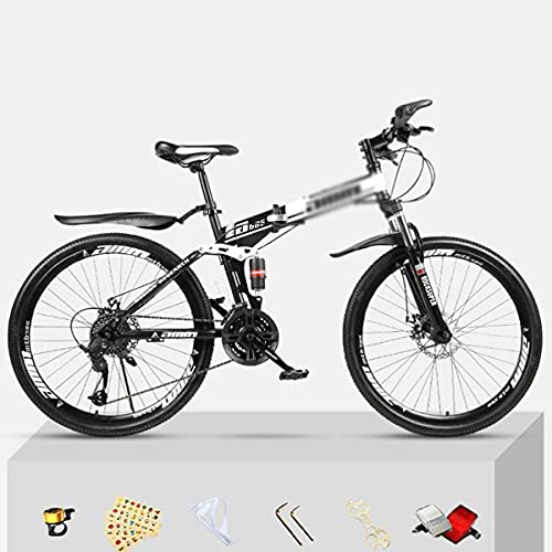 Bicicletas plegables Ruedas de 26 pulgadas Bicicleta de montaña Marco de acero al carbono 21/24/27 velocidades con freno de disco, horquilla de suspensión delantera (tamaño: 21 velocidades, color: roj