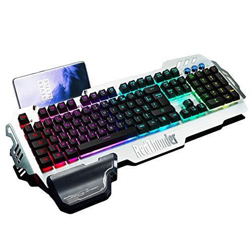 RedThunder K900 Clavier Semi-mécanique, AZERTY FRANÇAIS, Tout Métallique USB Ergonomique RGB Rétro-éclairage avec Raccourci Multimédia, Repose-Poignet pour PS4, PC, Ordinateur, Bureau, Jeux