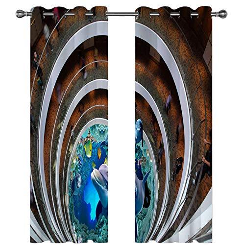 SSHHJ Cortinas para El Hogar del Dormitorio Cortinas Opacas Impermeables Protección Eficaz De La Privacidad Adecuado para Centros Comerciales, Dormitorios, Cortinas De Hotel 2 Juegos
