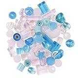 75 grammes mélange perles de verre pressé: taille 5-30 mm en différentes formes pour la confection de bijoux et arts et travaux manuels, rose/bleu
