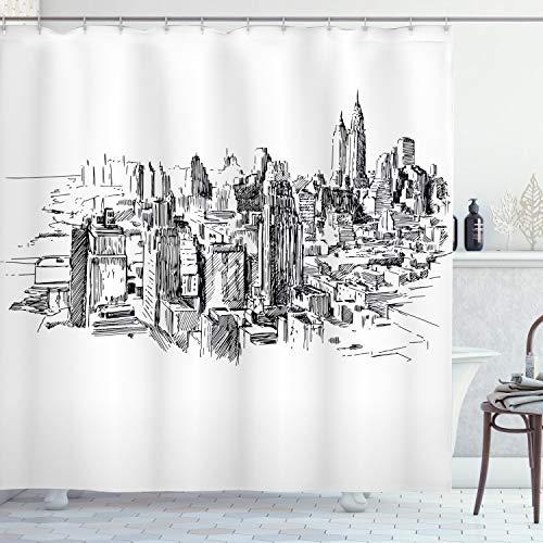 ABAKUHAUS Duschvorhang, Schwarz Weiß City Metropole New York Sketch Grob Eine Künstliche Großstadt Illustration Druck, Wasser & Blickdicht aus Stoff mit 12 Ringen Schimmel Resistent, 175 X 200 cm