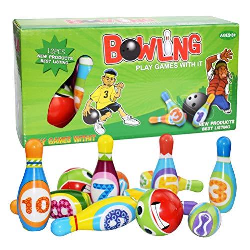 AWOME Juego de bolos de espuma suave para niños, juego de bolos de espuma suave para niños, juego de bolos, portátil, ligero, juego de bolos