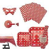 cotigo Set de Vajilla Desechables para Fiesta de Cumpleaños,para 16 Personas,Diseño Lunares,Color Rojo, Ideal para Niñas y Infantiles