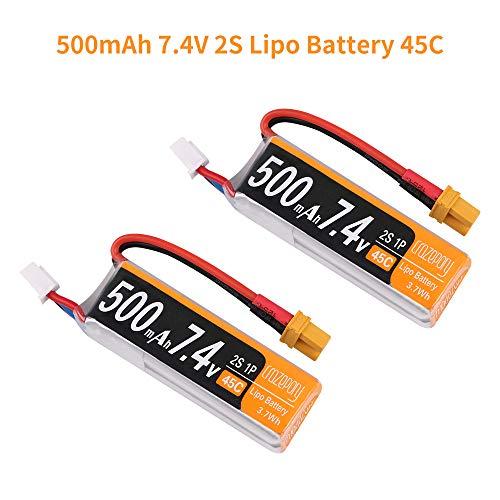 2pcs 500mAh 2S Lipo batería 7.4V 45C con XT30 Plug 18AWG Cable de Silicona para 2S FPV Racing Drone Brushless Quadcopter