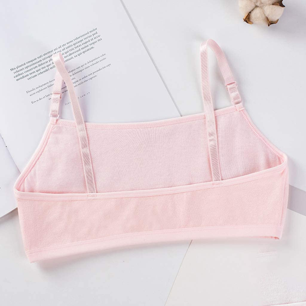 nashiourty Puberty Girl Sweet Candy Color Training Bra Double Layer Cotton Bralette Cartoon Meow Cat Adjustable