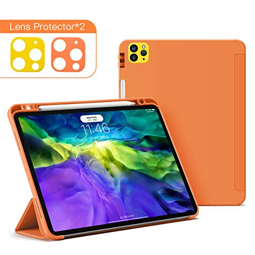 GUDOU for iPad Pro 12.9 Inch 4rd Generation 2020&2018 with Pencil Holder,Silica Gel+PU case [Supports Apple Pencil Pair & Charging],Trifold Stand Case with Auto Sleep/Wake (Orange)