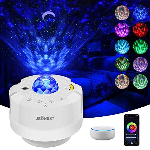 Wifi Smart Sternenhimmel Projektor Lampe, LED Nachtlicht Baby mit Sprachsteuerung, Sterne/Mond/Wasserwellen Projektor Arbeiten mit Alexa/Google Assistant, für Kinder/Zimmer/Weihnachten/Party