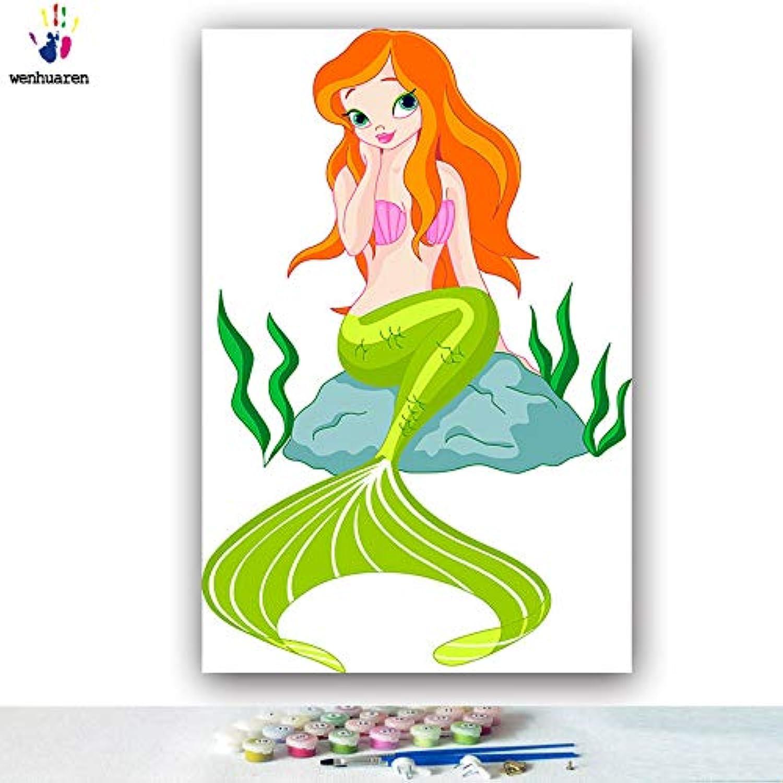 KYKDY DIY Farbgebung Bilder nach Zahlen mit Farben Schnee Weiß Prinzessin Jia Simin Bild Zeichnung Malen nach Zahlen gerahmt, 0441,40x50 mit Rahmen B07MC8JJC6 | Großer Räumungsverkauf