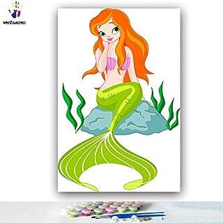 KYKDY DIY Farbgebung Bilder nach Zahlen mit Farben Schnee Weiß Prinzessin Jia Simin Bild Zeichnung Malen nach Zahlen gerahmt, 0441,40x50 mit Rahmen B07MC8JJC6  Haltbarer Service