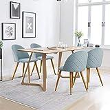 CLIPOP - Juego de 4 sillas de Comedor de Terciopelo con Respaldo y Patas de Metal Resistente de Estilo de Madera para...