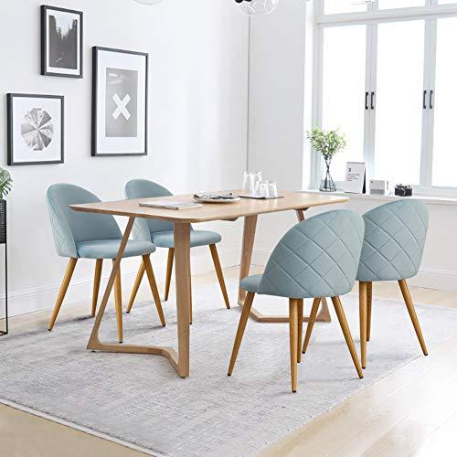 CLIPOP - Juego de 4 sillas de comedor de terciopelo con respaldo y patas de metal resistente de estilo de madera para salón, sala de estar, cocina, oficina y restaurante, azul claro, 46*46*77 CM