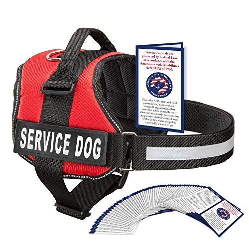 Service Dog Vest With Hook and Loop Straps and Handle - Harness is Available in 8 Sizes From XXXS to XXL - Service Dog Harness Features Reflective Patch and Comfortable Mesh Design (Red, Small)