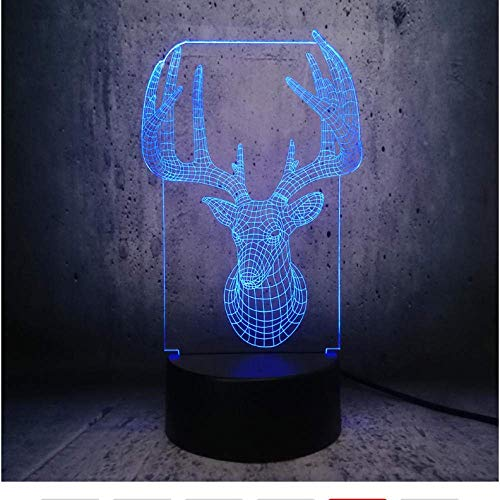 meijiago Winter Reindeer Head Night Light 3D Illusion Lamps Animal Party Display Light Xmas Gifts