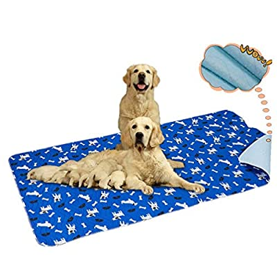 "Yangbaga Washable Reusable Dog Training Pads - XXL?64""X 36"" ? Dog Incontinence Pads - Machine Washable Anti-Slip Quick-Dry Leakproof Puppy Training and Travel Pads"