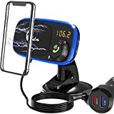 Quick Charge 3.0 Car Charger Cell Phone Mount, Dashboard Magnetic Holder Cradle with Bluetooth FM Radio Transmitter Car Kit with Hands Free Call, MP3 Music Player, Dual USB Cigarette Lighter Adapter