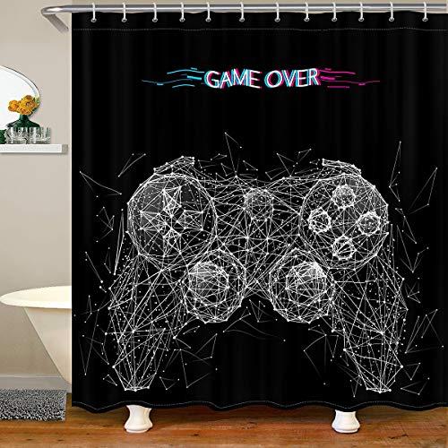 Cortina de ducha de tela para consola de juegos, juego moderno, impermeable, para videojuegos, juego de videojuegos, cortina de ducha con ganchos, 180 x 180 cm