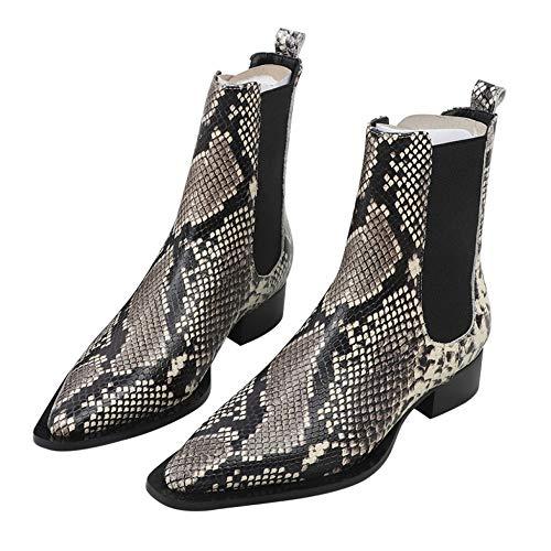 Stiefeletten Damen Schlangenleder Elastic Band Chelsea Pointed Boots Fashion Boots,Beige(A)-39