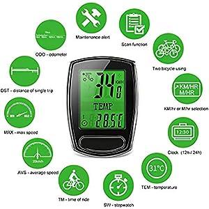 IPSXP Computadora de Bicicleta, Alámbrico Velocímetro y Cuentakilómetros Impermeable Ordenador de Ciclismo con Pantalla LCD Retroiluminada, Sueño Automático/Despertar, Batería Incluida