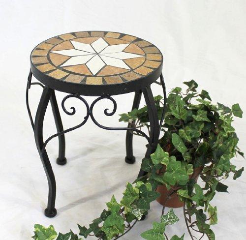 DanDiBo Blumenhocker Mosaik Rund 27 cm Blumenständer 12014 Beistelltisch Pflanzenständer Mosaiktisch Klein