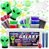 Galaxy Slime Kit For Girls Boys - Toy Slime kit with Glow in the Dark Slime Aliens, Galaxy Slime Balls and Premade Slime For Kids - Cosmic Craft Kit Gift with Glow in Dark Stars, Stickers, Glitter