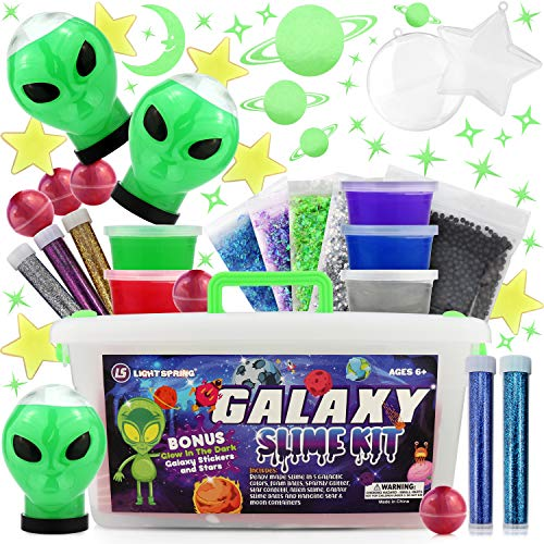 LightSpring Galaxy Slime Kit for Girls Boys - Toy Slime kit with Glow in The Dark Slime Aliens, Galaxy Slime Balls and Premade Slime for Kids - Cosmic Craft Kit Gift with Glow in Dark Stars, Stickers