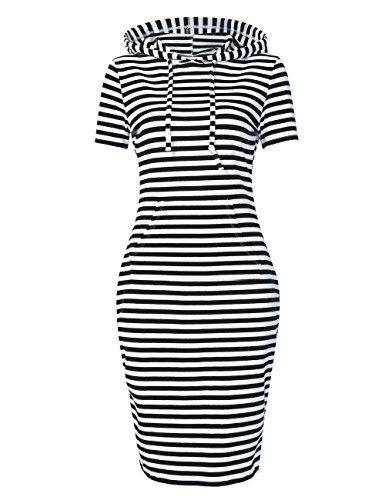 MISSKY Women's Short Sleeve Pullover Stripe Keen Length Slim Hoodie Dress with Kangaroo Pocket for Causal for Spring Autumn Summer, Black White, Large