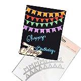 Riforla Carbon Steel Cartoon Happy Birthday Cutting Die Set Embossing Stencil Template Mold DIY Paper Art Craft Scrapbook Bookmark Greeting Card Decor Banner, Flag, Colors, Ensign Scrapbooking