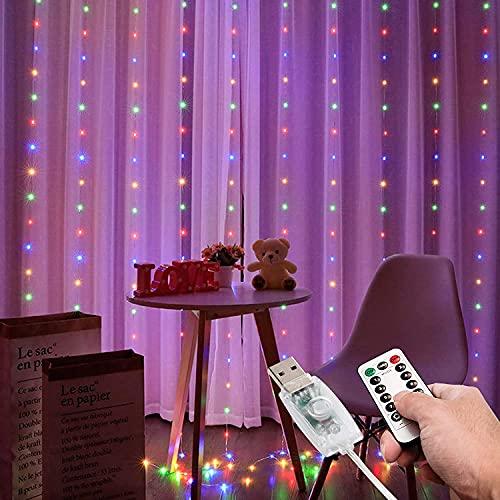 XKMY Cadena de luces LED de jardín USB LED cortina luz hadas cadena luces 8 modo 3x3 m 3x1 m 3x2 m guirnalda de hadas para Año Nuevo Navidad al aire libre boda decoración del hogar