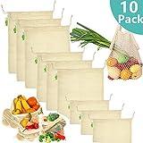 JPX 10 PCS Bolsas Compra Reutilizables Algodon, 9 Bolsas de Comida para Fruta(3*S, 3*M, 3*L) ,1 Bolsa de Malla Reutilizable Bolsa de Compras