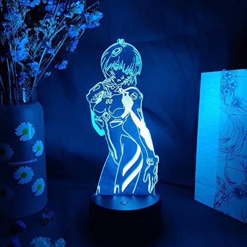 LBINGKJ Luminária noturna de ilusão de LED 3D, anime, figura de anime Ayanami Rei, mangá, arte para decoração de casa, iluminação de LED, decoração de cabeceira, lâmpada de controle de toque, 7 cores