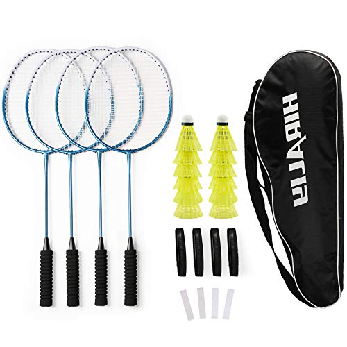 HIRALIY Badminton Rackets Set of 4 for Outdoor Backyard Games, Including 4 Rackets, 12 Nylon Shuttlecocks, 4 Replacement Grip Tapes and 1 Carrying Bag