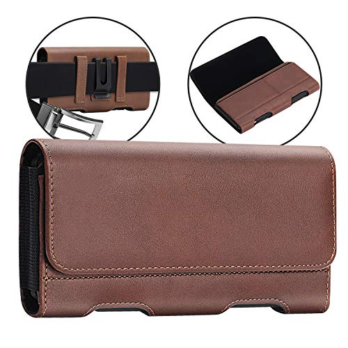 BECPLT Huwei P30 Lite Holster Case, Huawei Mate 30 Pro Belt Clip Case, Leather Belt Clip Pouch Holster Case for Huawei P40 Lite P30 Pro P20 Pro Mate 20 Lite/P Smart 2019 /Honor 10 Lite 8X (Brown)