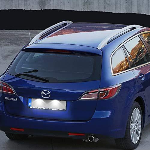 WXQYR 2 unids/Set lámpara de matrícula de luz LED Blanca Trasera de Alto Brillo para Mazda 6 GH 2007-2012 RX-8 2004-2012 Accesorios de Coche
