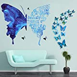 28 Pieces Large Blue Butterfly and Inspirational Quotations Wall Sticker Peel and Stick Wallpaper Wall Decals Art Including 24 Pieces 3D Blue Small Butterfly for Bedroom Living Room Office Wall Decor