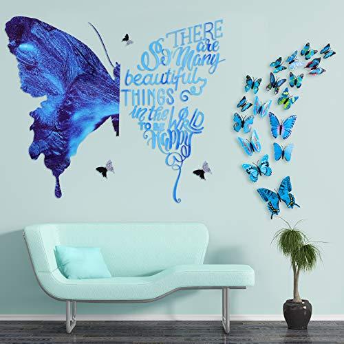28 Piezas Pegatinas de Pared Grandes de Mariposa Azul y Citas Inspiradoras Calcomanías de Pared Papel Pintado Despegar y Pegar Incluyendo 24 Piezas Mariposa Pequeña Azul 3D