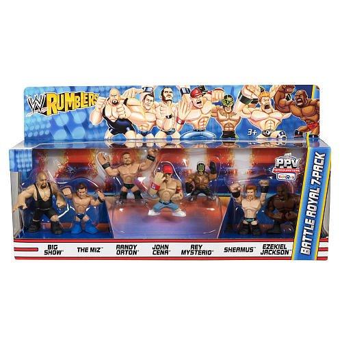 WWE Wrestling Rumblers Exclusive Mini Figure Battle Royal 7Pack Big Show, The Miz, Randy Orton, John Cena, Rey Mysterio, Sheamus Ezekiel Jackson by Mattel