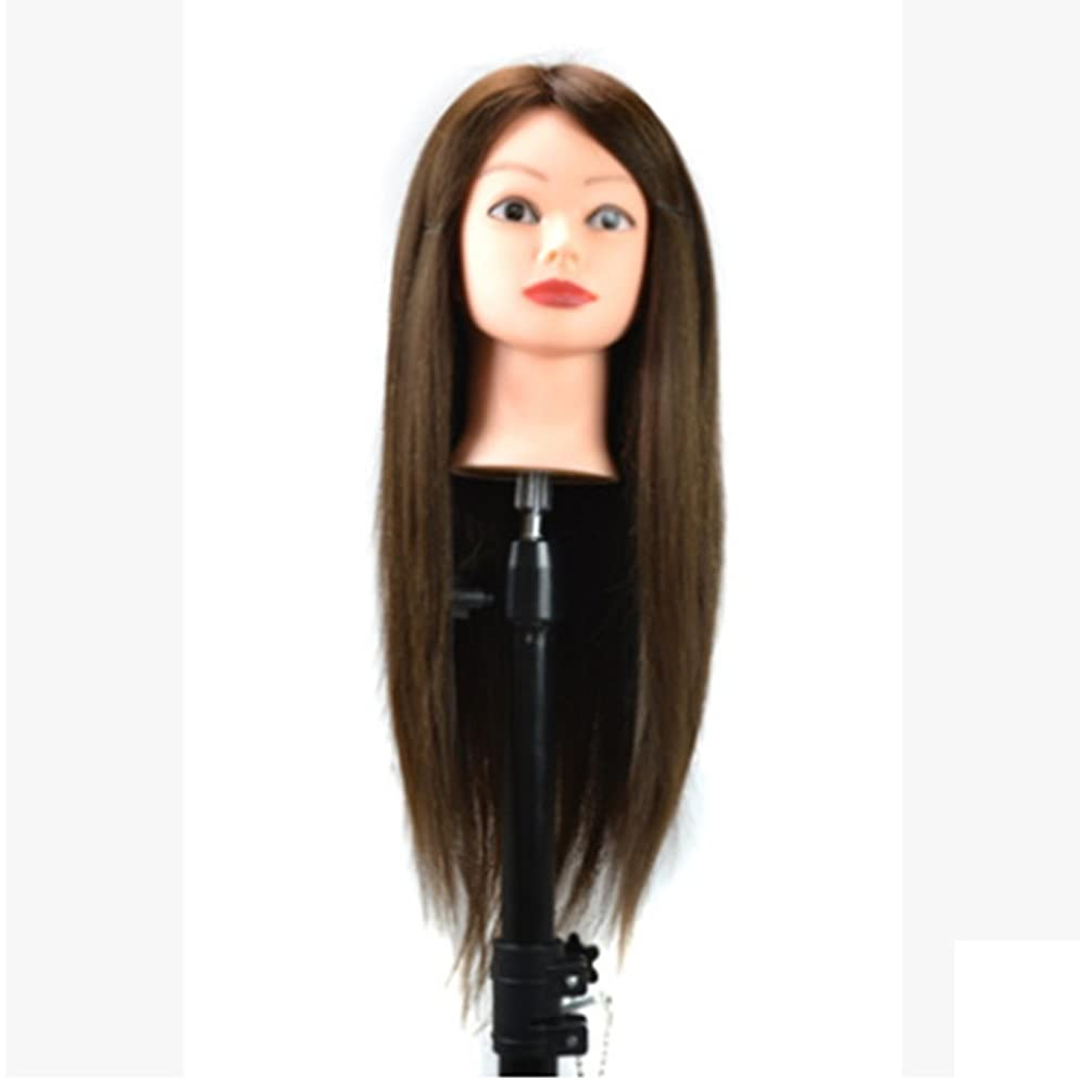 光電バドミントンアジアKoloeplf ブラケットを含む 60cm ウィッグ ヘッド 染色が可能で、メイク アップ ウィッグ ヘッド 付き ディスクと編組髪 (Color : ブラウン)
