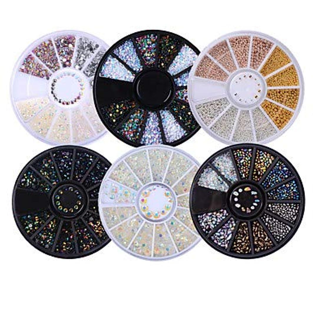 広がりシャワー代数6ボックス混合モデル光沢のあるネイルラインストーン3Dネイルアートデコレーション