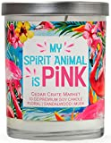Cedar Crate Market My Spirit Animal is Pink Floral, Sandalwood, Musk, Scented Soy Candles, 10 Oz. Jar Candle, Tropical Candles, Pink Flamingo Candles, for Women, Funny Candles